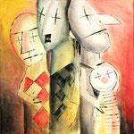 2000 Clowns (1) Acryl auf Leinwand 80x80 cm