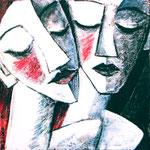 2007 Paar Acryl auf Leinwand 20x20 cm