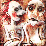 2007 Seitenblicke Acryl auf Leinwand 30x25 cm
