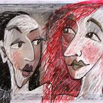 2016 Zwei Frauen Mischtechnik auf Transparentpapier über Foto 15x20 cm