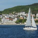 Blick von der Ostsee auf die Altstadt und die Villa Fernsicht