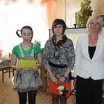 Посвящение в библиотекари: Анастасия Терпилко, Анастасия Буда, Татьяна Хомич (слева-направо)