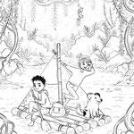 Ausmalbild 1, Abenteuer Floß