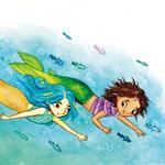 """Illustration aus """"Meermädchengeschichten"""", Bildermaus-Band vom Loewe-Verlag (siehe Kinderbücher), Im Buchhandel erhältlich"""