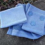 Serviettes nid d'abeille en coton teintées à la main avec le pastel