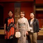 終演後、私、杵家七三さん、イベントのプロデューサーで作曲家の浅井暁子さん