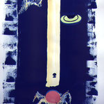 Photogramme, cyanotype aquarellé,  épreuve unique, 1999. H76 xL57 cm © Annick Maroussy  -  Papier   BFK Rives.