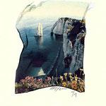 """Etretat, """"Paysage de l'Aval"""", Transfert d'émulsion Polaroïd avec rehauts à l'aquarelle,  © Annick Maroussy"""