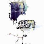 """Série Etretat 2000, """"La Manneporte et son double"""", 1/1,  avec rehauts  à l'aquarelle, transfert d'émulsion, © Annick Maroussy"""