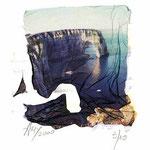 """Série Etretat 2000, """"La MannePorte"""" avec rehauts crayon et pastels, transfert  d'émulsion, © Annick Maroussy"""
