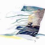 """Série Etretat 2000, """"Voile de l'Amont"""" 1/1, avec rehauts à l'aquarelle, transfert d'émulsion,  © Annick Maroussy"""