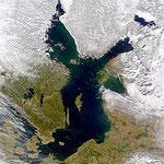 Zdjęcie satelitarne Bałtyku w marcu 2000; fot.:NASA