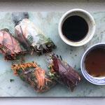 Vietnamese verse springrolls met tofu of met gerookte kip