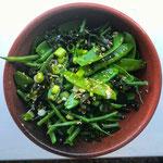 Japanse groene salade met zeewier en boontjes