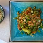 Roerbakgroenten met oestersaus en sesamolie