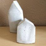 Kleine Häuser aus Beton, selber gießen mit Formen aus Milchtüten