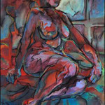"Figure in Window (2009). Acrylic, 36"" x48 "". Nicole Harper ©"