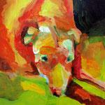 "Dog (2009). Acrylic, 12"" x 18"". Nicole Harper ©"