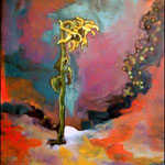 "Solitary Sunflower (2009). Oil, 36"" x 48"". Nicole Harper  ©"