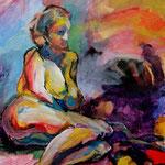 "Reclining Figure (2009). Acrylic, 12"" x 18"". Nicole Harper ©"