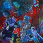 "SPARK Crowd (2011). Acrylic, 15"" x 30"". Nicole Harper ©"
