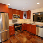 Maple Cabinets with Cherry Stain, Stainless Steel Appliances
