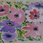 Anémones/papier chiffon - aquarelle 24x19cm 70 € papier chiffon