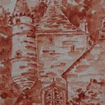 Tour médiévale, aquarelle - 30X40cm ( vendu) réf TOU01