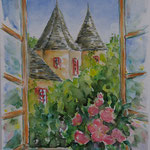 Sarlat, XVIIe, de ma fenêtre (vendu) vente reproduction réf SAR003