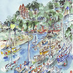 Carteret, le port, aquarelle ORIGINALE (vendu) et reproduction CRT002