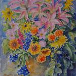 Bouquet  de lys...BQL001-Aquarelle 50x60cm - vendu