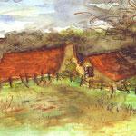 Dordogne petite ferme - (vendu) - vente reproduction A3 : 16 €