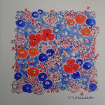 Tissu fleurs - réf.TFL3 - aquarelle 30x30cm - 75 €