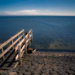 Waddendijk Vlieland uitzicht over het Wad bij de houten stellage