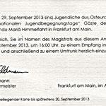 Die Einladung des Oberbürgermeisters