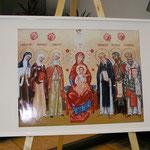 Die sechs Patroninien und Patrone Europas: Die Heiligen Edith Stein, Kathrina von Siena, Brigitta von Schweden, Method, Kyrill und Benedikt (Renovabis-Ikone 2013 - ausgestellt in der St. Hedwigkirche)