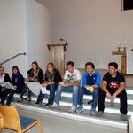 Die Jugendlichen der evangelischen Gemeinde haben das Abendgebet vorbereitet.