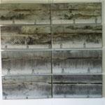 Pluie noires 8 paneaux-170 x 170 cm