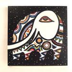 『宇宙に浮かぶ 象』     木製パネル 333×333 水性塗料