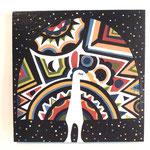 『宇宙に浮かぶ 孔雀』   木製パネル 300×300 水性塗料