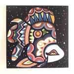 『宇宙に浮かぶ 金魚』   木製パネル 300×300 水性塗料
