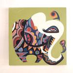 『恋する象』   木製パネル 300×300 水性塗料