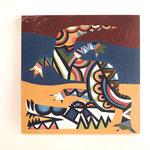 『空腹なワニ』     木製パネル 333×333 水性塗料