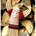 "Textile bird with the aroma of coffee and cinnamon ""Magpie Crow"", height 26 cm"