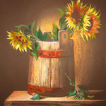"""Sunflowers in a barrel"" 44Х49"