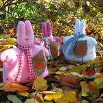 """Autumn. Rabbits walk"" height 18 cm"