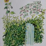 Hortus Conclusus / colorierte Zeichnung