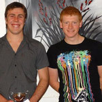 Yamaha Heavies Club Champion Aaron deRidder (L) with the Waitara Auto Services Cup and Anthony Bruce (2nd)
