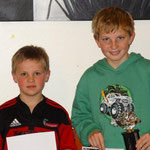 Cadet Club Champion Zane Riddick (R) with the Hofmans Family Trophy and Thomas Boniface (2nd), Dylan Frere (absent) was 3rd