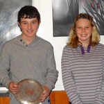 Junior Yamaha Club Champion Matthew Podjursky with the Len Harris Tray Trophy (L) and Brittany Riddick (2nd)